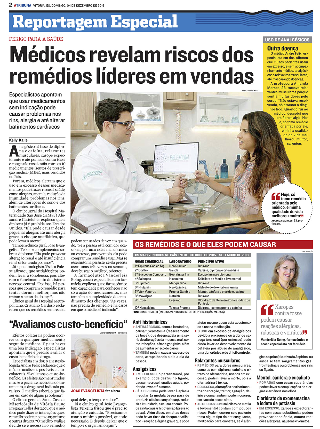 Médicos revelam riscos dos remédios líderes em vendas - A Tribuna