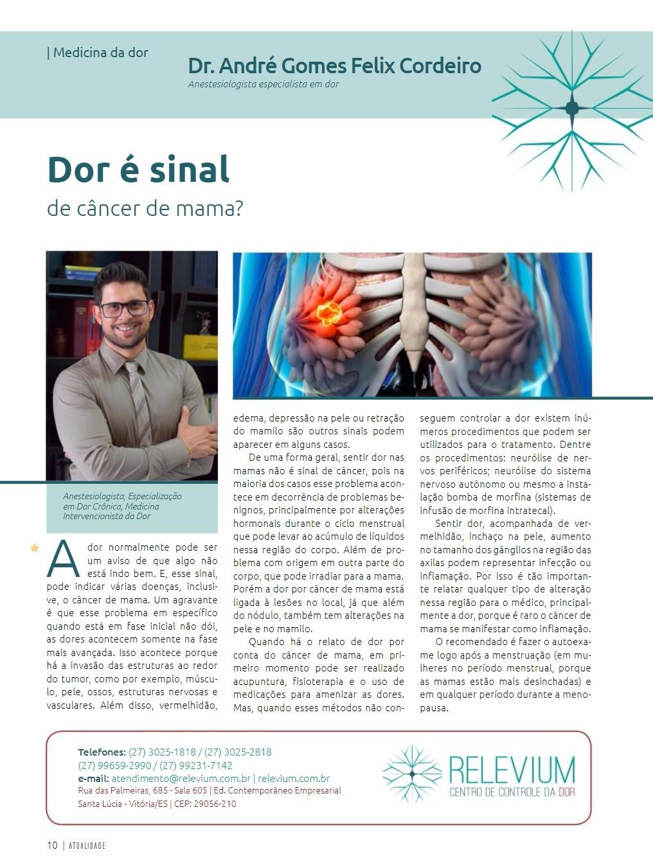Imagem Dor é sinal de câncer de mama? - Revista Atualidade