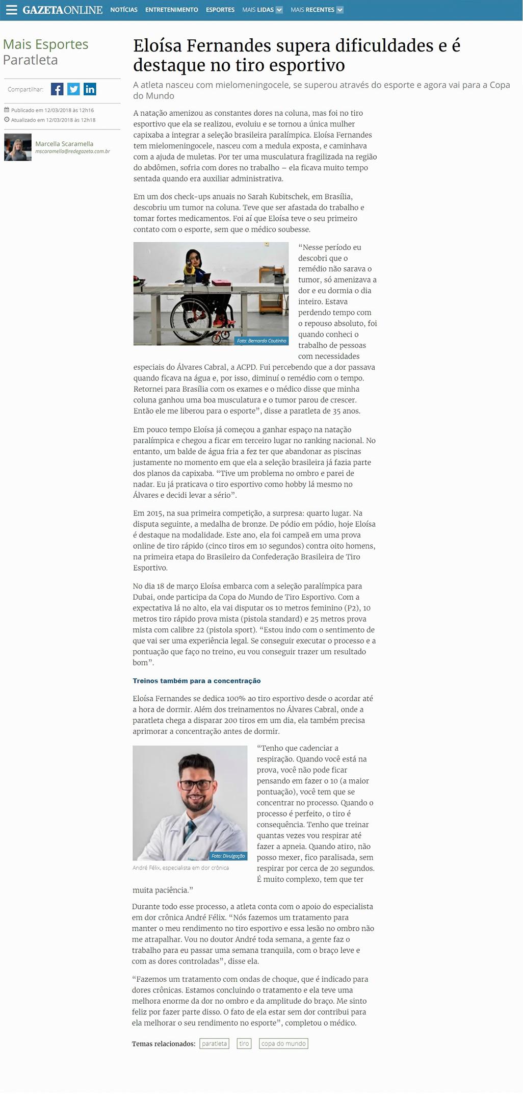 Imagem História de superação da atleta Eloísa Fernanda na revista Gazeta com participação do Dr. André Felix